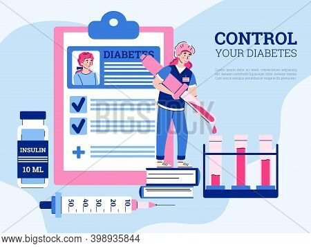 Female Doctor Making Medical Analyses For Control Blood Glucose Level Of Woman Patient With Diabetes