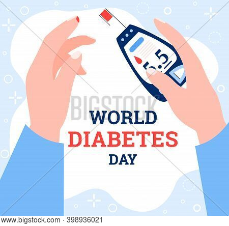 World Diabetes Day Concept Banner. Blood Glucose Test, Control And Checking Insulin And Sugar Level.