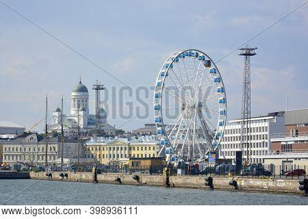 Helsinki, Finland. July, 24, 2014. Helsinki Harbour From Waterside Ferris Wheel Helsinki Cathedral