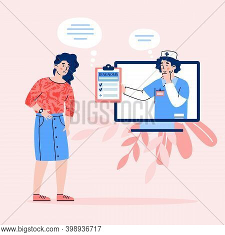 Doctor Diagnosis The Patient Remotely, Flat Cartoon Vector Illustration. Online Diagnosis, Counselin