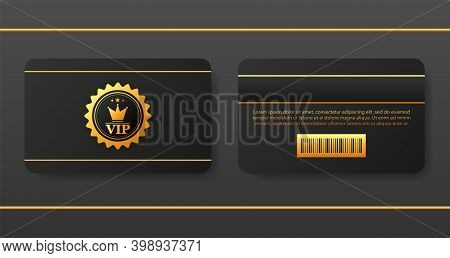Vip Discount Black Card Sketch For Buying On Gray Background. Vector Illustration.