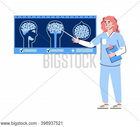 Doctor Female Cartoon Character Pointing On Mri Or Tomography Scans Of Brain, Flat Vector Illustrati