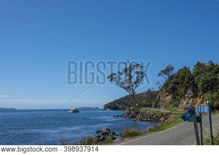 Oban New Zealand - November 3 2020; Coastal Road  With House Numbers At Street With White Numbers On