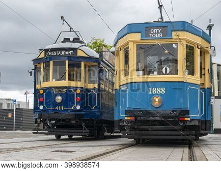 Christchurch New Zealand - November 19 2020; Two City Trams On Street Providing Travel Experiences F