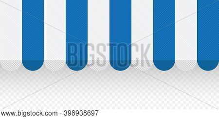 Blue Textured Striped Awning For Shop. Tent Sun Shade For Market On Transparent Background. Vector I