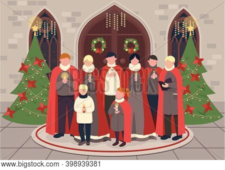 Christmas Carol Choir Flat Color Vector Illustration. Religious Christian Holiday Celebration. Singe