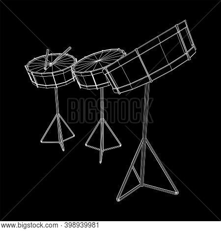 Musical Instruments Set. Rock Band Kit. Percussion Musical Instrument Drum And Stick. Wireframe Low