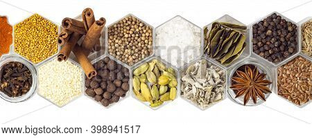 In Hexagonal Jars Isolated On A White Background