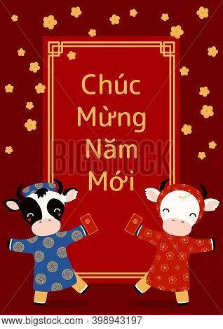 2021 Vietnamese New Year Tet Illustration, Cute Buffalo In Ao Dai, Red Envelope, Apricot Flowers, Vi