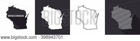 State Of Wisconsin. Map Of Wisconsin. United States Of America Wisconsin. State Maps. Vector Illustr