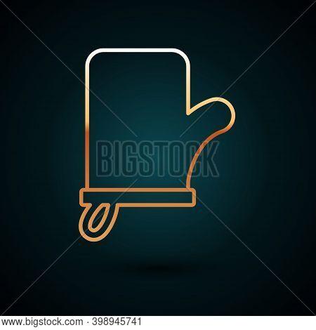 Gold Line Sauna Mittens Icon Isolated On Dark Blue Background. Mitten For Spa. Vector