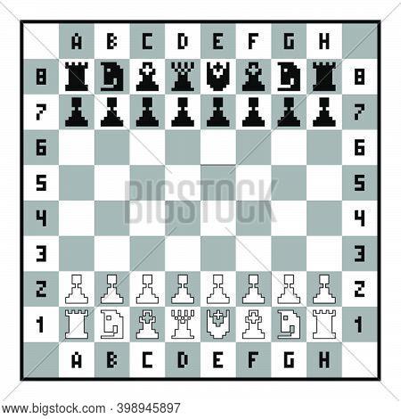 Chess Pieces On The Chessboard. Pixel Art Chess Set. Chess Game. Black And White Vector Illustration