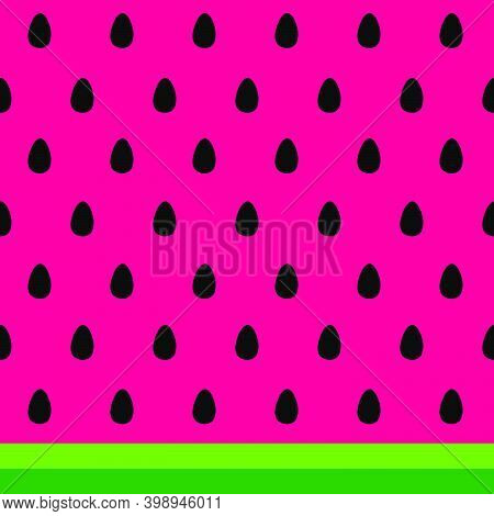 Watermelon Seeds And Rind (skin) Background. Black Watermelon Seeds On The Pink Background, Striped
