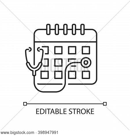 Consultation Time Linear Icon. Primary Care Doctor Visit. Physician Workload. Medical Advice. Thin L