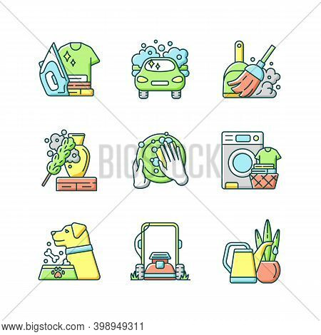 Cleaning Chores Rgb Color Icons Set. Housekeeping Tasks. Housemaid Services, Housewife Duties. Diffe