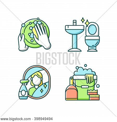 Housewife Chores Rgb Color Icons Set. Dish Washing, Toilet Cleanup, Mirror Washing And Sanitizers. K