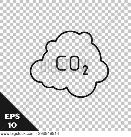 Black Line Co2 Emissions In Cloud Icon Isolated On Transparent Background. Carbon Dioxide Formula, S