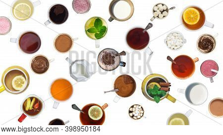 Many Different Cups With Drinks And Desserts Isolated On White