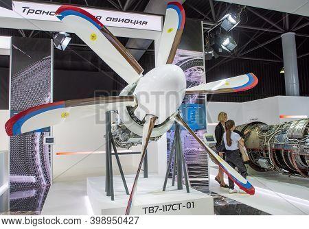 August 31, 2019, Moscow Region, Russia. Russian Turboprop Engine Certified Klimov Tv7-117, Designed