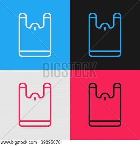 Pop Art Line Plastic Bag Icon Isolated On Color Background. Disposable Cellophane And Polythene Pack