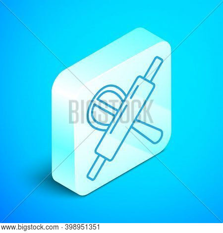 Isometric Line Kitchen Whisk And Rolling Pin Icon Isolated On Blue Background. Cooking Utensil, Egg