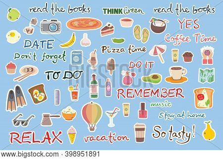 Signs And Symbols For Organized Your Diary. Template For Scrapbooking, Wrapping, Wedding Invitation,