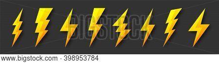 Yellow Lightning Bolt Icons Collection. Flash Symbol, Thunderbolt. Simple Lightning Strike Sign. Vec