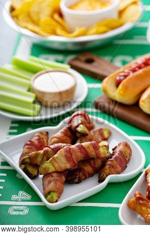 Game Day Food For Super Bowl, Fried Avocado Wrapped In Bacon