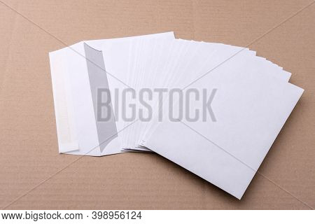 Envelopes For Letters Are On The Table.
