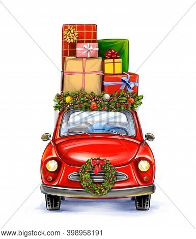 Gift Box On The Car, Decorative Christmas Ornament, Art Illustration Painted With Watercolors Isolat