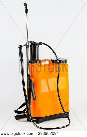 Pesticide Sprayers On An Isolated White Background. To Work In The Garden And The Vegetable Garden.