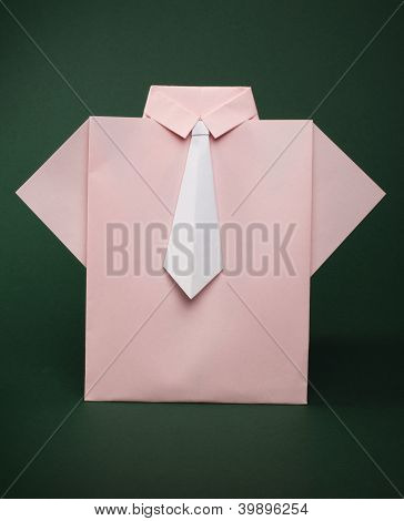 Isolated Paper Made Pink Shirt With White Tie