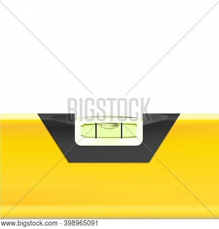 Construction Level Yellow Macro Tool Isolated On White Background. Bubble Instrument, Realistic With