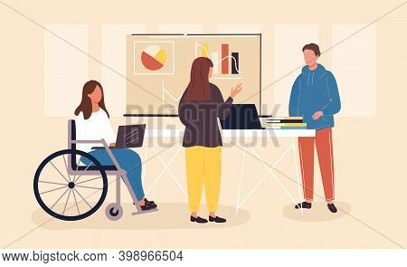 Inclusive Workplace Concept. Millennials Working In The Office, Teamwork, Young Adults Communicating