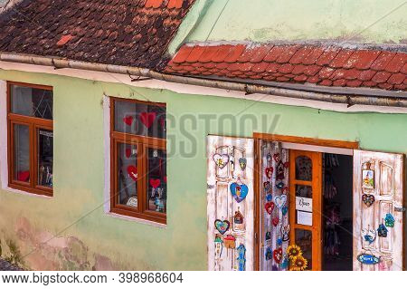 Sibiu, Romania - July 8, 2020: Small Souvenir Shop Located In The Historic Center, Down From The Sta