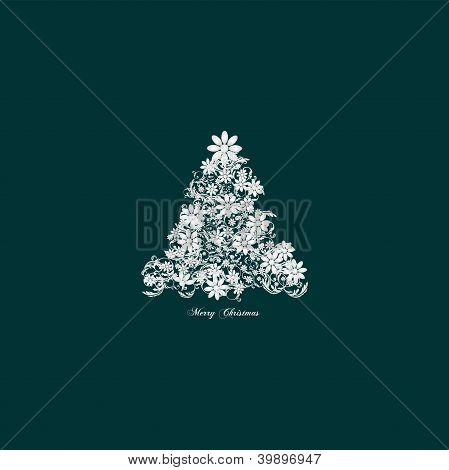 Elegant christmas tree floral - vintage