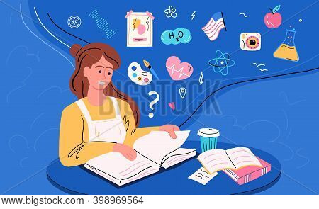 Reading Abstract Concept. Book, Encyclopedia And Other Information Source Study, Research Or Explore