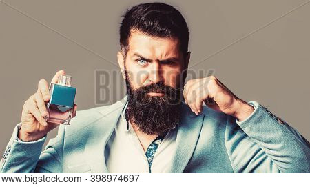 Bearded Male Prefers Expensive Fragrance Smell. Man Perfume, Fragrance. Masculine Perfume. Male Frag