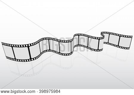 3d Cinema Background. Film Strip In Perspective. Template Poster For Cinema Festival. Retro Design F