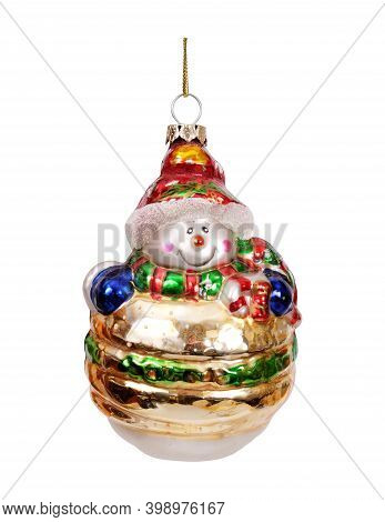 Glass Christmas Toy Isolated On A White Background. Design Element With Clipping Path