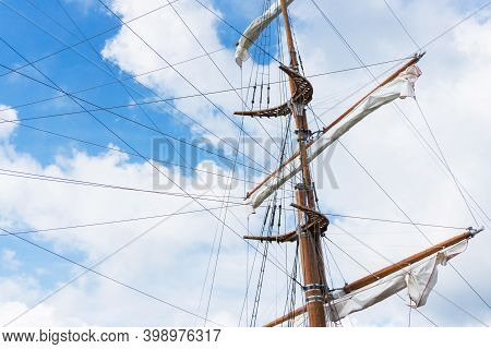 Ship Mastr Background. Old Retro Wooden Construction. Yacht Travel Background. Pirate Ship Backgroun