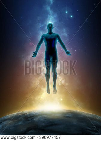 Man silhouette floating over a colored space background. 3D illustration.