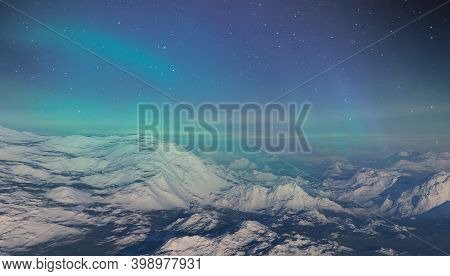 3d Rendered Space Art: Alien Planet - A Fantasy Landscape With Blue Skies And Aurora Borealis