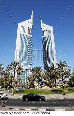 Dubai, Uae - November 19: The Emirates Towers, Mercedes S-klass Car On November 19, 2017. The Emirat