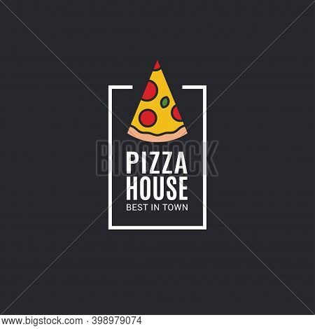 Pizza Logo With Pizza Slice On Black Background