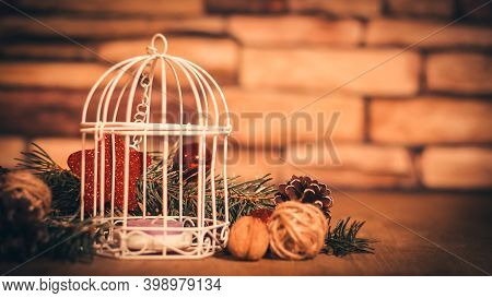 Christmas Background.christmas Candle And Christmas Tree Decorat
