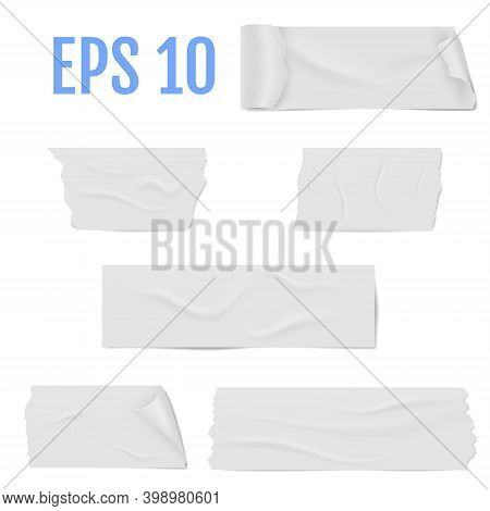 Realistic Different Slices Of A White Adhesive Tape With Shadow And Wrinkles Isolated On A White. St