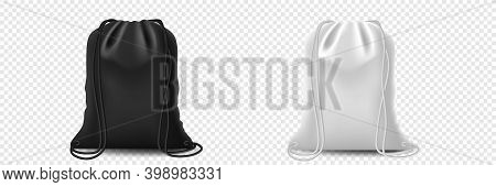Pouch Drawstring Bag, Sport Bags For Cloth And Shoes. Backpack Set On Isolated Background. Template