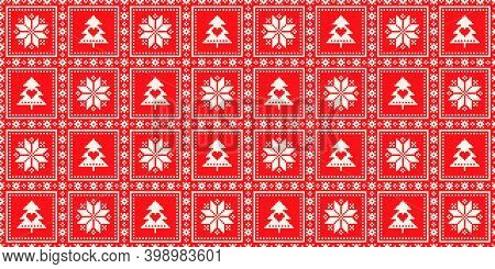 Winter Holiday Pixel Checkered Pattern. Christmas Star And Christmas Tree Seamless Squared Ornament.