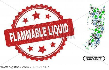 Vector Coronavirus Winter Mosaic Pemba Island Map And Flammable Liquid Textured Stamp Imitation. Fla
